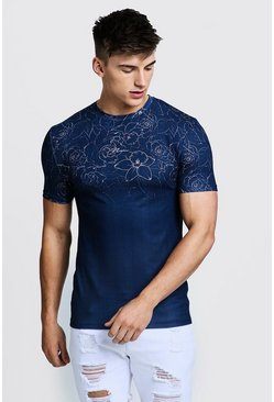 Mens Navy MAN Signature Muscle Fit Rose Faded T-Shirt