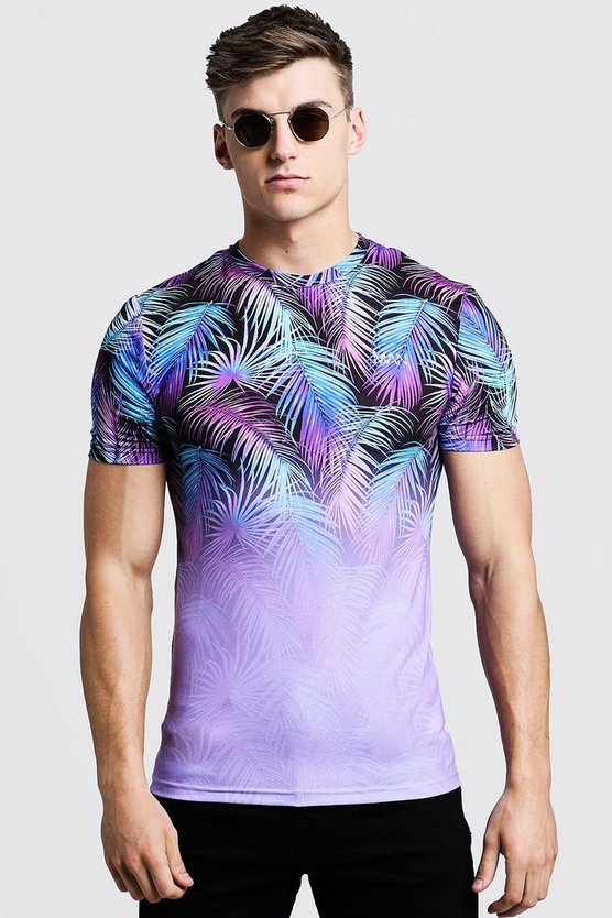 Lilac Original MAN Muscle Fit Palm Faded T-Shirt