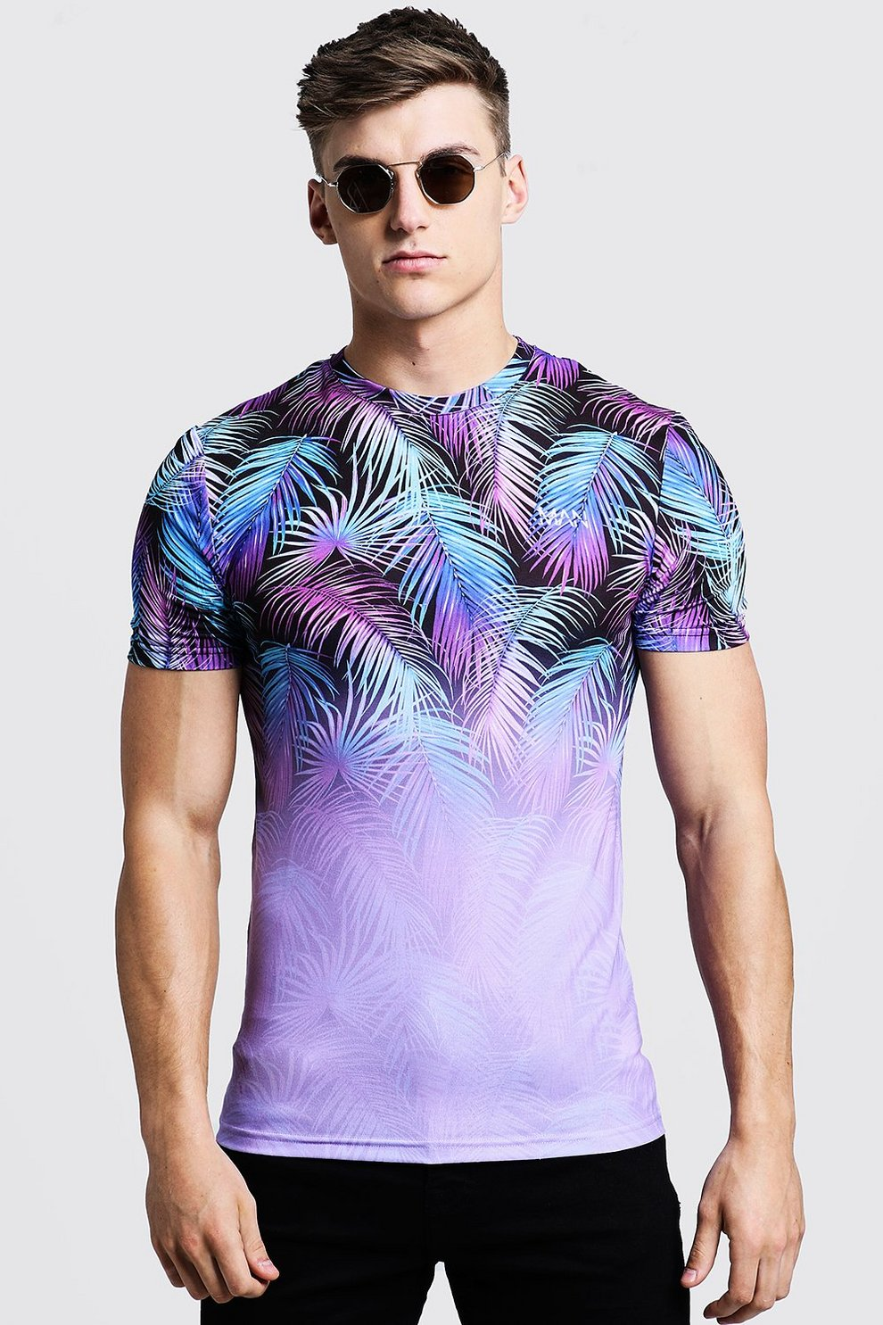 a03cfb366 Mens Lilac Original MAN Muscle Fit Palm Faded T-Shirt. Hover to zoom