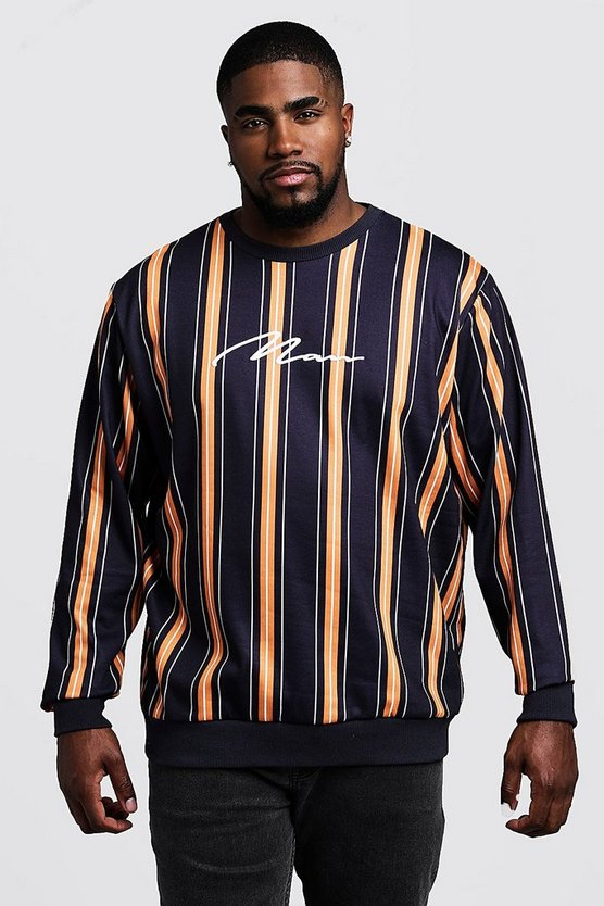 Black Big & Tall Stripe MAN Signature Sweater