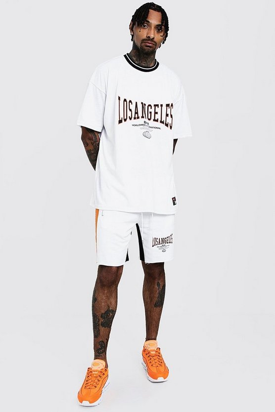 Mens White Oversized T-Shirt & Short Set With LA Print