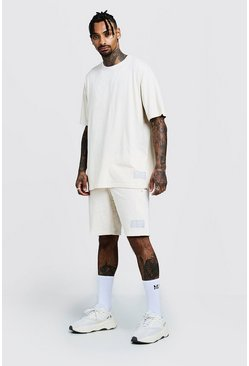 Mens Ecru Oversized T-Shirt & Short Set With Sports Rib
