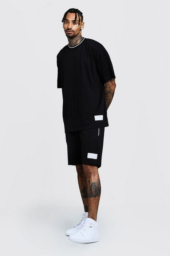 Mens Black Oversized T-Shirt & Short Set With Sports Rib