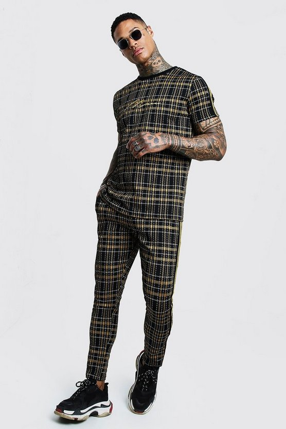 Black MAN Signature Check T-Shirt Tracksuit With Tape