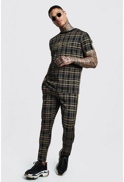 Mens Black MAN Signature Check T-Shirt Tracksuit With Tape