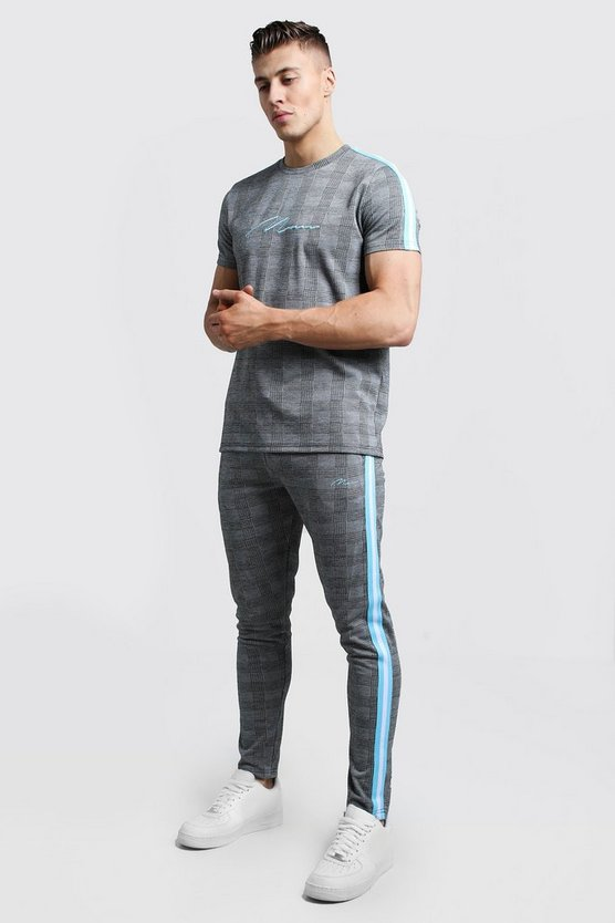 Mens Light blue MAN Signature T-Shirt Tracksuit With Tape