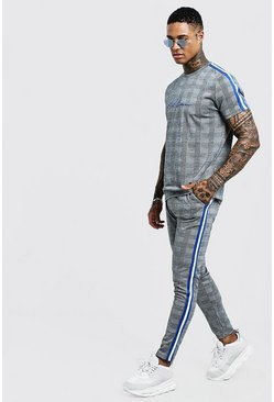 Herr Cobalt MAN Signature Check T-Shirt Tracksuit With Tape