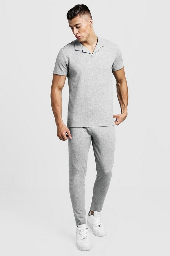 Mens Grey Revere Collar Polo And Cropped Jogger Twin Set
