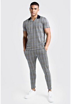 Mens Blue Revere Collar Polo And Cropped Jogger Twin Set