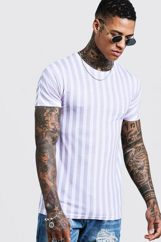 Mens Stone Muscle Fit Stripe T-Shirt
