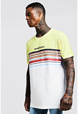 Oversized-T-Shirt im Colorblock-Design, Gelb, Herren