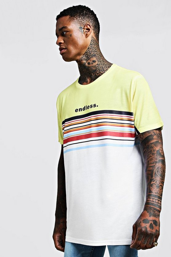 Mens Yellow Oversized T-Shirt In Colour Block Stripe