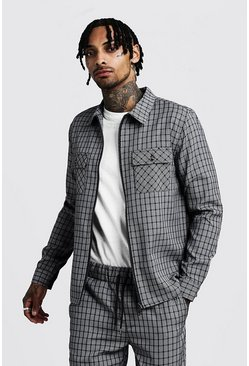 Mens Grey Check Zip Shacket