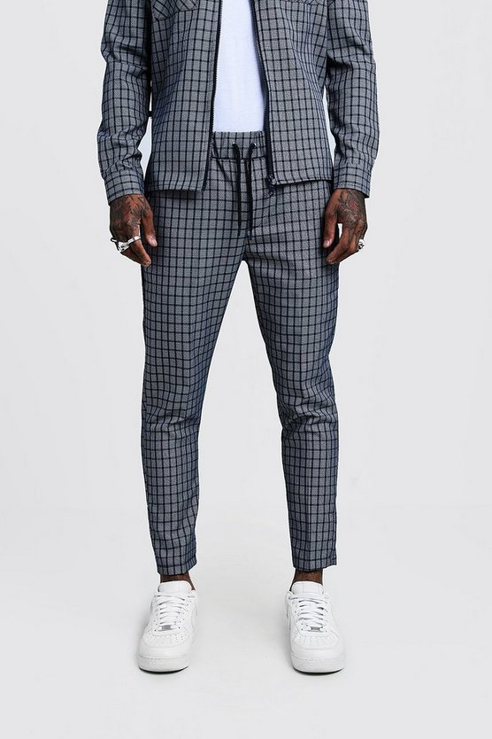 Mens Grey Check Smart Cropped Jogger