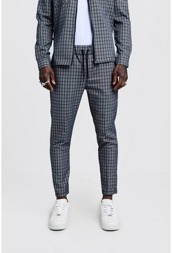 Herr Grey Check Smart Cropped Jogger