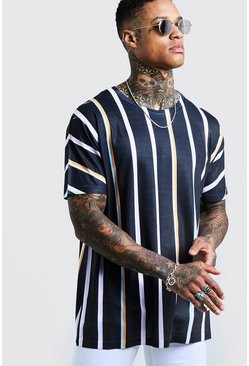 Black Oversized Retro Vertical Stripe T-Shirt