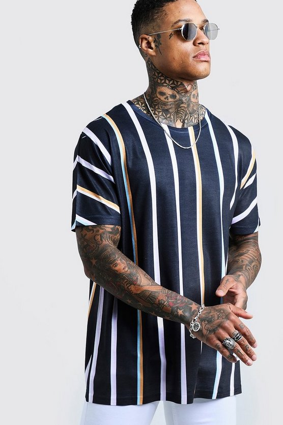 Mens Black Oversized Retro Vertical Stripe T-Shirt