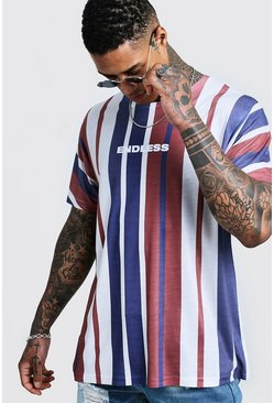 Mens Navy Oversized Vertical Stripe T-Shirt