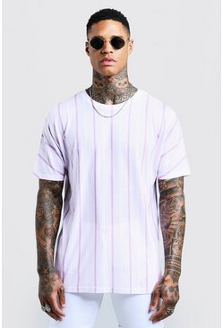 Mens Pink Oversized Vertical Stripe T-Shirt