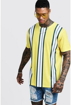 Mens Yellow Oversized T-Shirt In Vertical Stripe