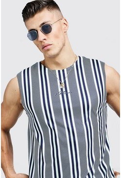 Mens Dusty blue MAN Signature Stripe Tank