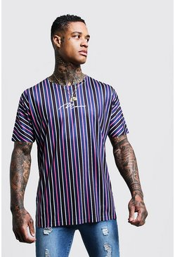 Mens Black MAN Signature Loose Fit Stripe T-Shirt