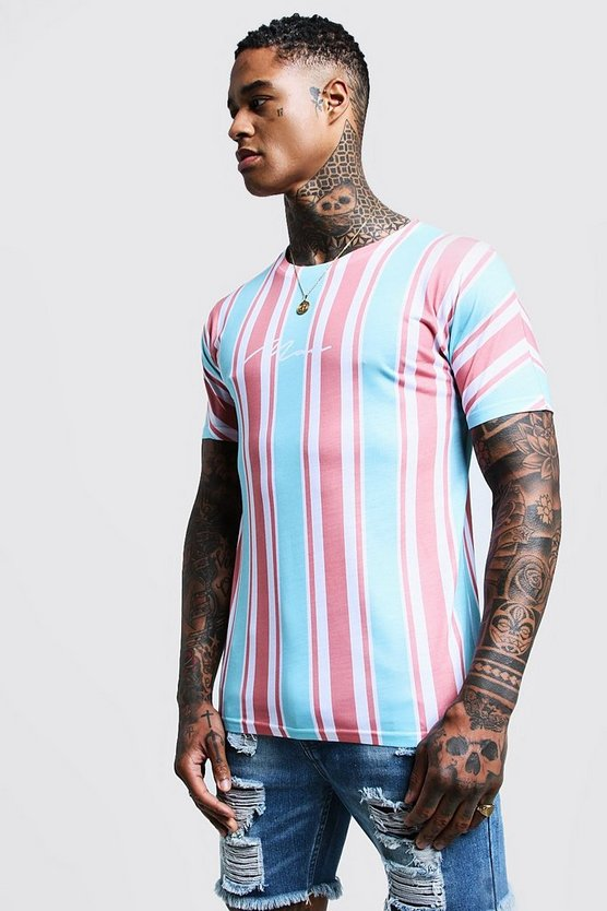 Mens Dusky pink MAN Signature Stripe Printed T-Shirt