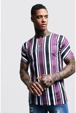 Mens Purple MAN Signature Stripe Printed T-Shirt