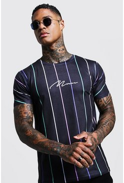 Mens Black MAN Signature Multi Coloured Stripe T-Shirt