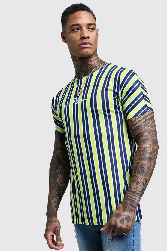 Mens Yellow MAN Signature Stripe Printed T-Shirt