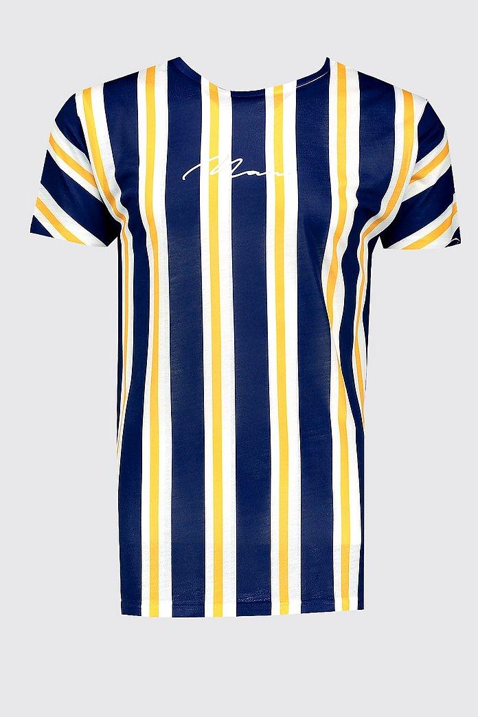 MAN Signature Stripes Printed T-Shirt - boohooMAN
