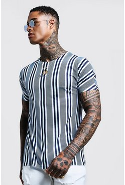 Mens Dusty blue MAN Signature Stripe T-Shirt