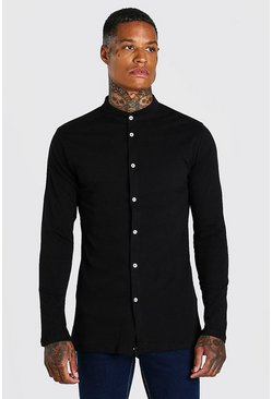 Mens Black Long Sleeved Grandad Collar Jersey Shirt