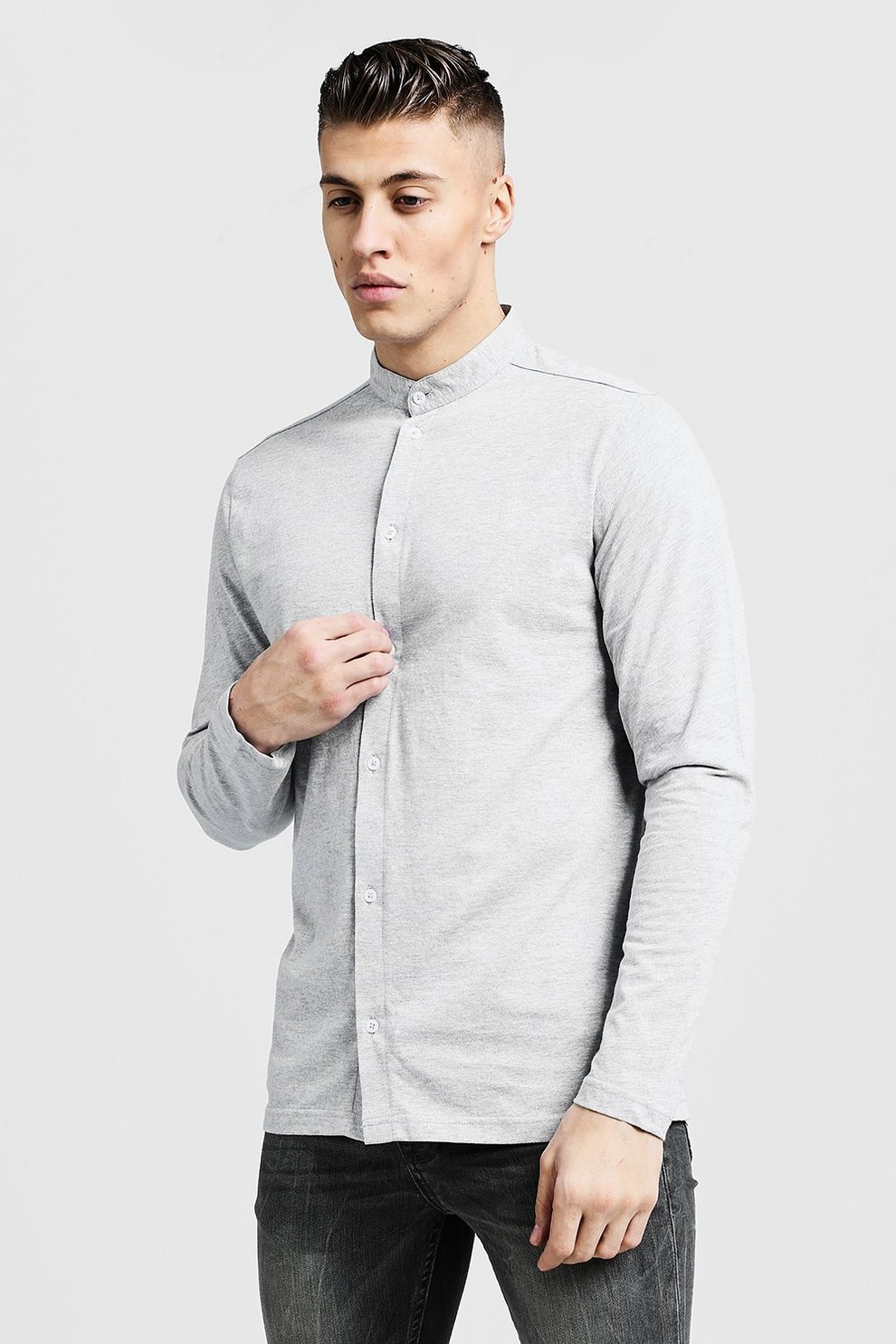 c0913889fb Camisa de punto de manga larga con cuello Henley