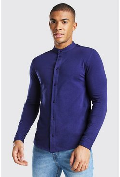 Mens Navy Long Sleeved Grandad Collar Jersey Shirt
