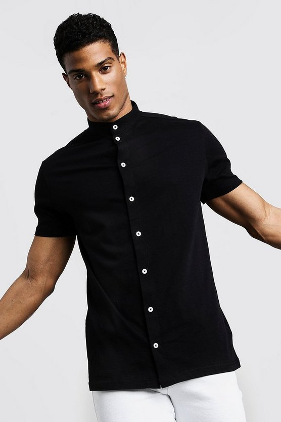 Black Short Sleeve Grandad Collar Jersey Shirt