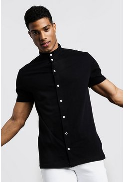 Mens Black Short Sleeve Grandad Collar Jersey Shirt