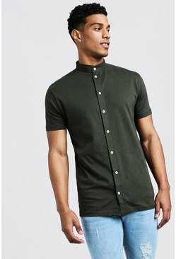 Khaki Short Sleeve Grandad Collar Jersey Shirt
