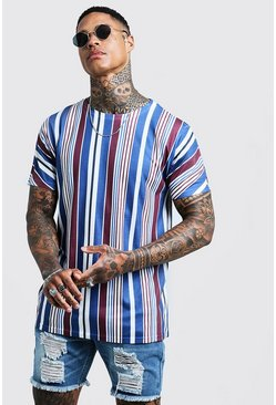 Mens Blue Retro Vertical Stripe T-Shirt