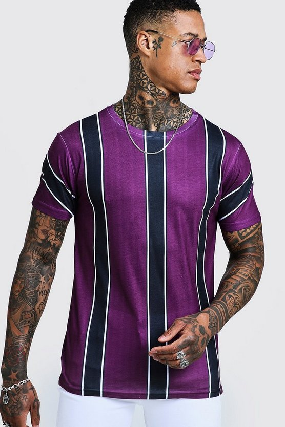 Mens Purple Vertical Retro Stripe T-Shirt