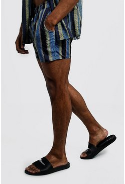 Mens Teal Chain Stripe Short Length Swim Short
