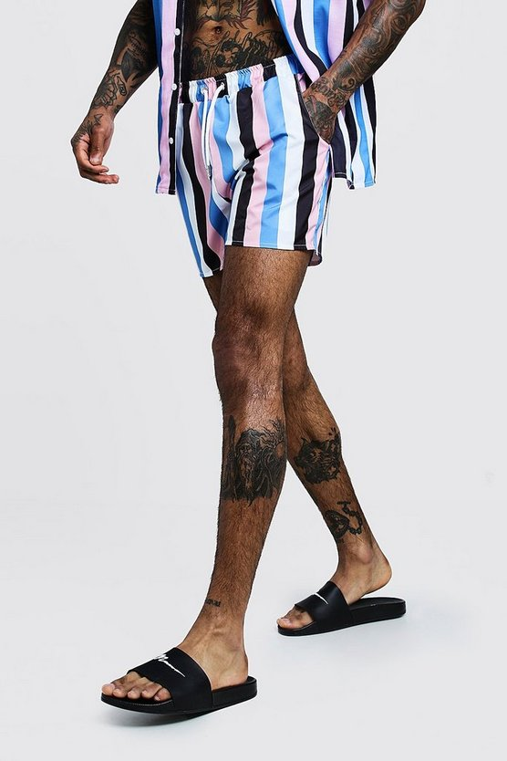 Mens Pink Vertical Stripe Mid Length Swim Short