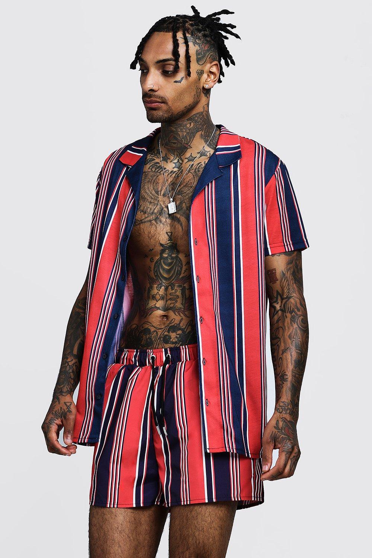 Vintage Men's Swimsuits – 1930s to 1970s History Vertical Stripe Short Sleeve Revere Shirt $32.00 AT vintagedancer.com
