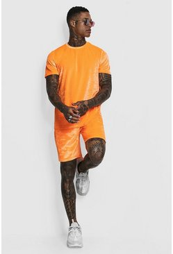 Mens Neon-orange Man Signature Neon Velour T-Shirt & Short Set