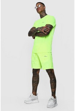 Mens Neon-yellow Man Signature Neon Velour T-Shirt & Short Set