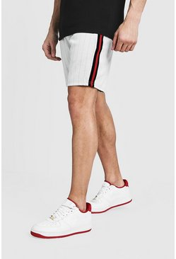 Mens White Pinstripe Taped Mid Length Short