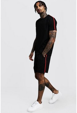 Black Pinstripe T-Shirt & Short Set With Side Tape