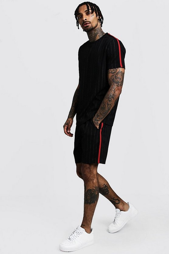 Mens Black Pinstripe T-Shirt & Short Set With Side Tape