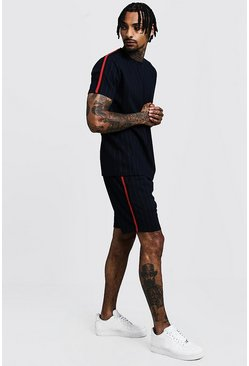 Mens Navy Pinstripe T-Shirt & Short Set With Side Tape