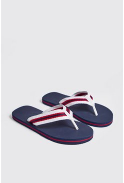 Mens Navy Sport Tape Flip Flops